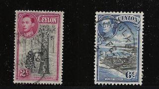 Ceylon Scott 278 & 280,  Singles 1938 - 52 Fvf photo