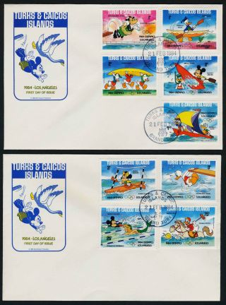 Turks & Caicos 619a - 28a Fdc ' S Disney,  Olympic Sports,  Pluto,  Donald Duck,  Horses photo