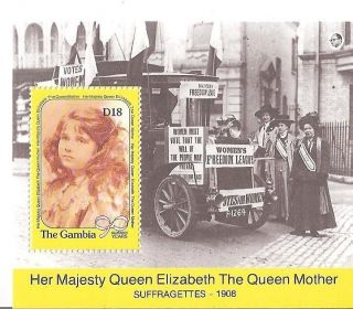 (14925) The Gambia - Queen Mother 90th Birthday Minisheet U/m photo