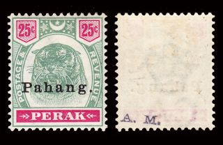 Malaya Pahang 1898 Overprint On Perak 50c Sg 22 Hinged Cv £300 photo