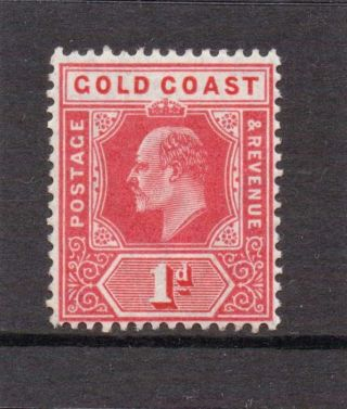 Gold Coast E V11 1907 1d Red Sg 60 V.  L.  H. photo