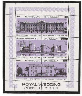 (53246) Princess Diana Wedding - Overprint Souvenir Sheet Barbuda - 1981 photo