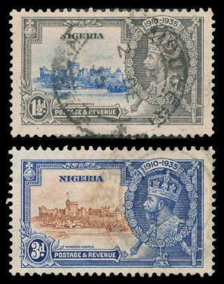 Nigeria 1935 Scott 34,  36 (sg 30,  32) Silver Jubilee photo