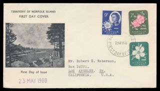 Norfolk Island 1960 Sc 29,  30,  34 (sg 24,  25,  29) Flowers Cacheted Fdc photo