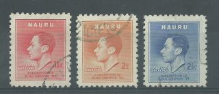 Nauru - 1937 - Sg44 To Sg46 - Cv £ 6.  25 - photo