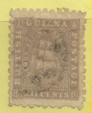 8280 - British Guiana 1862 Gray Lilac 12c Sc 34 Scv $97.  50 Copy photo