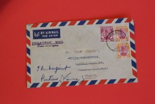 Selangor Malaya 1950 Airmail Cover To France Sultan photo