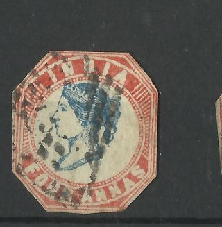 India - 1854 - 4as Litho Fine / Head Shifted V photo