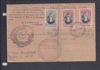 1939 Tin Can - Canoe Mail - Niuafoou,  Tonga Aug 28 - 1939 - Multi Franking & Markings photo