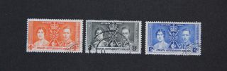 Straits Settlements 1937 Coronation Kgvi Fu Malaya Scott 235 - 7 Sg 275 - 7 photo