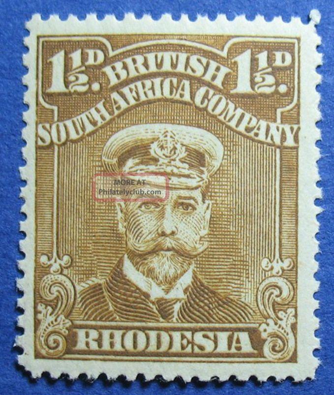 1919 Rhodesia 1 1/2d Scott 121b S.  G.  206 Nh Cs09815 British Colonies & Territories photo