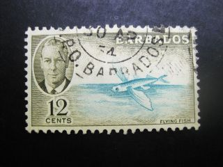 Barbados 1950 12c Olive&aqua Stamp Sc 222