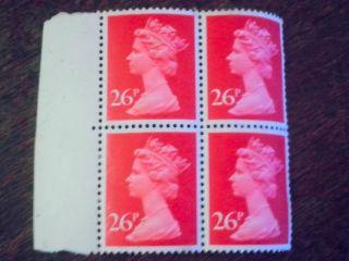Vintage,  Never -. . .  Great Britain 26p Queen Elizabeth Ii. . .  4 Stamp Block,  1982 photo