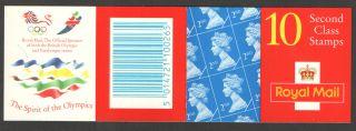 Hc15 / Db16 (20) Cyl B3 (b8) Harrison Olympics 10 X 2nd Class Barcode Booklet photo