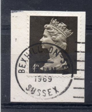 Gb = Postmark - Qe2,  `bexhill - On - Sea / Sussex` Machine Cancel.  1969.  4d Machin. photo