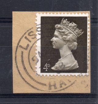 Gb = Postmark - Qe2,  `liss / Hants.  ` Thin Arcs.  1968.  4d Machin. photo