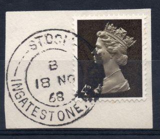 Gb = Postmark - Qe2,  `stock / Ingatestone,  Essex` Thin Arcs.  1968.  4d Machin. photo