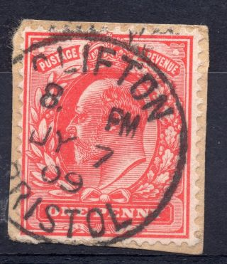 Gb = Postmark - E7,  `clifton / Bristol` Single Ring 1909 photo