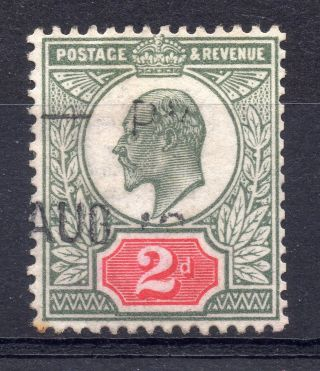 Gb = Postmark - E7,  `indistinct` Machine Cancel On 2d Pale Green & Carmine photo