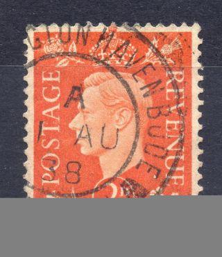 Gb = Postmark - G6 Era,  `bude,  Cornwall` Sub - Office Thick Arcs.  1938. photo