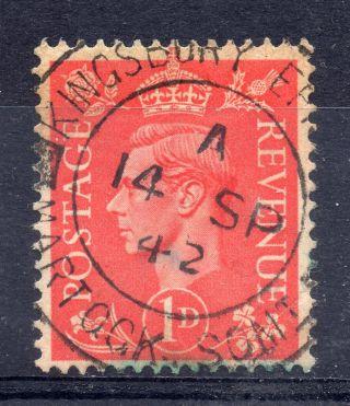 Gb = Postmark - G6 Era,  `kingsbury Episcupi / Martock.  Somt.  ` Thick Arcs 1942 photo