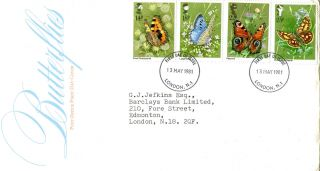 13 May 1981 Butterflies Post Office First Day Cover London N1 Fdi photo