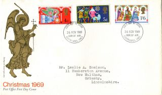 26 November 1969 Christmas Post Office First Day Cover Grimsby Fdi photo