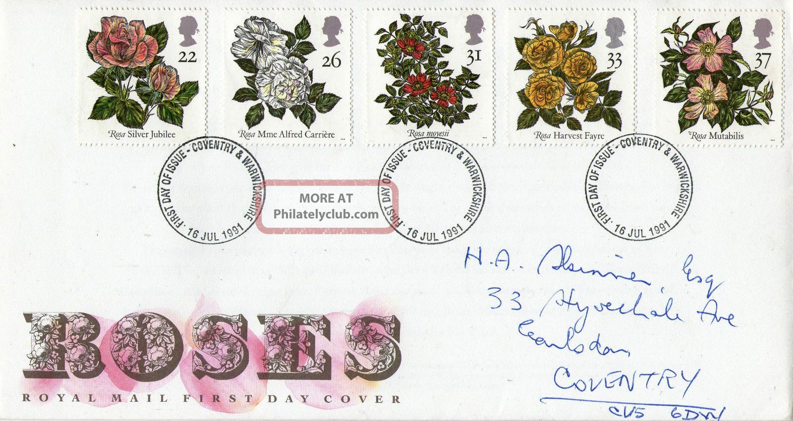 16 July 1991 Roses Royal Mail First Day Cover Coventry Fdi Topical Stamps photo