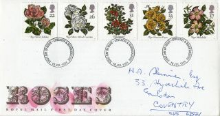 16 July 1991 Roses Royal Mail First Day Cover Coventry Fdi photo