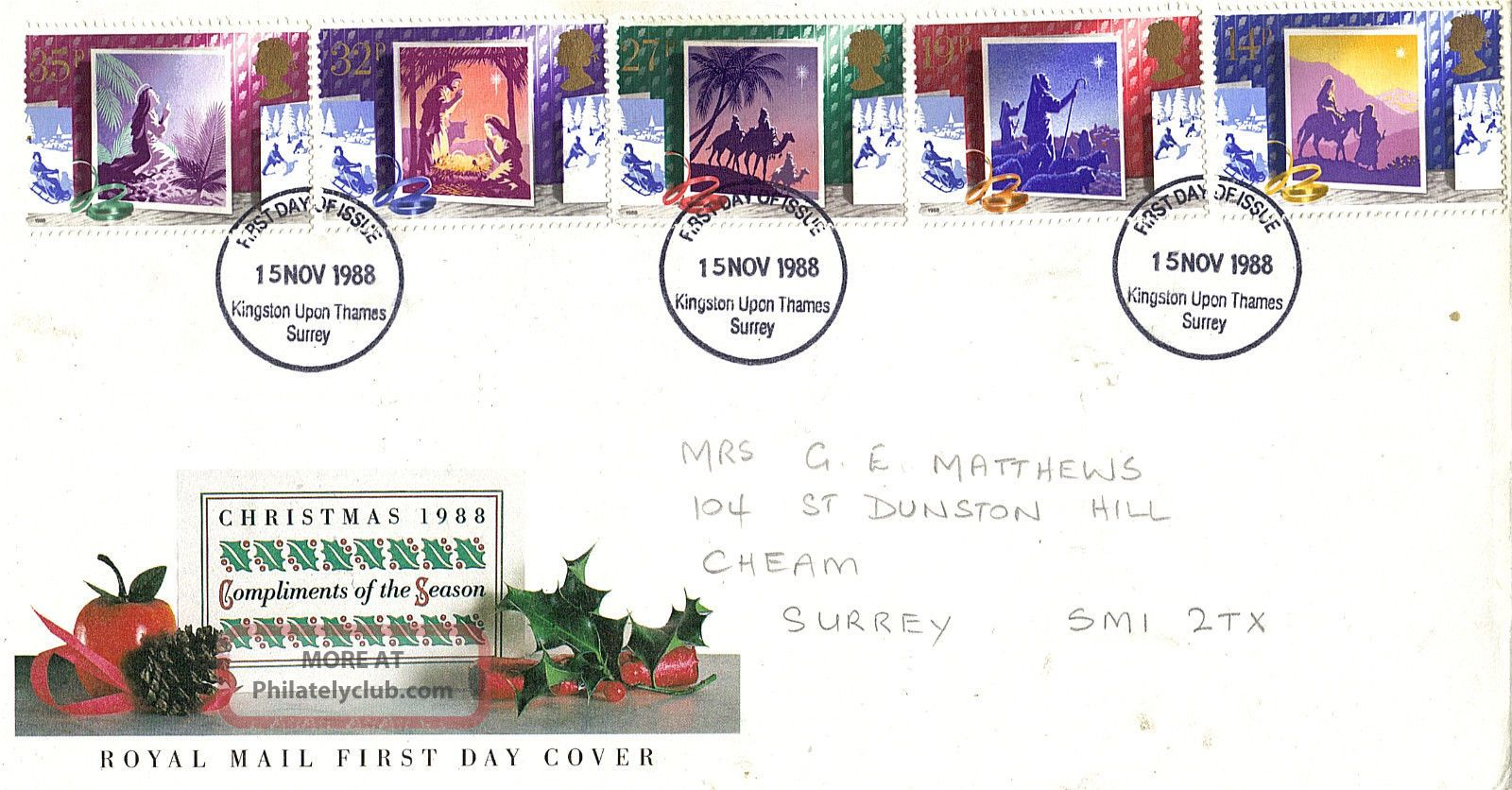 15 November 1988 Christmas Royal Mail First Day Cover Kingston U Thames Fdi Topical Stamps photo