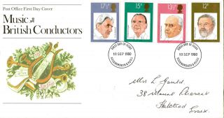 10 September 1980 Famous Conductors Post Office First Day Cover Bournemouth Fdi photo