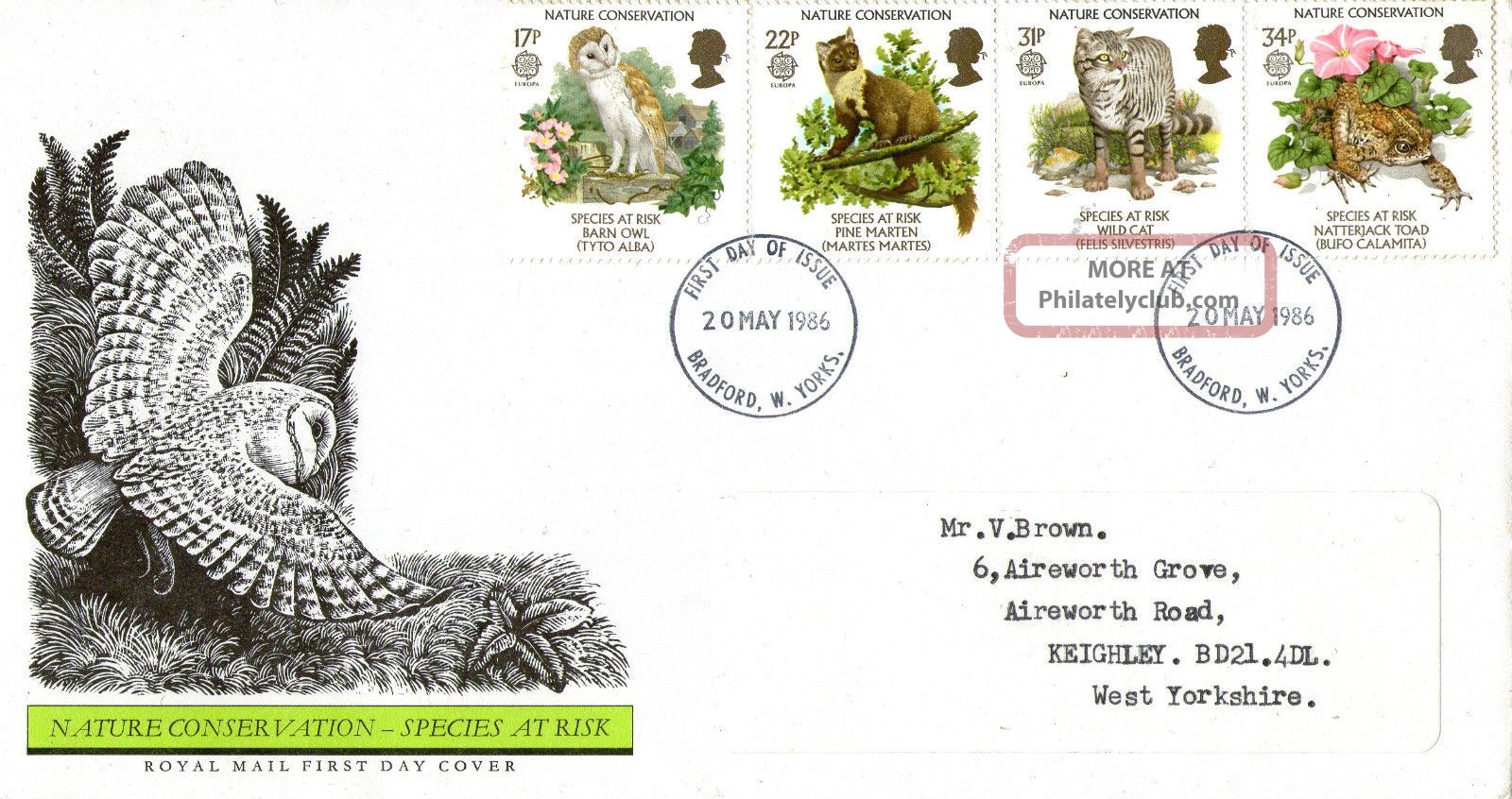 20 May 1986 Nature Conservation Royal Mail First Day Cover Bradford Fdi Animal Kingdom photo