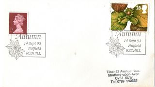 14 September 1993 Autumn First Day Cover Nutfield Redhill Shs photo