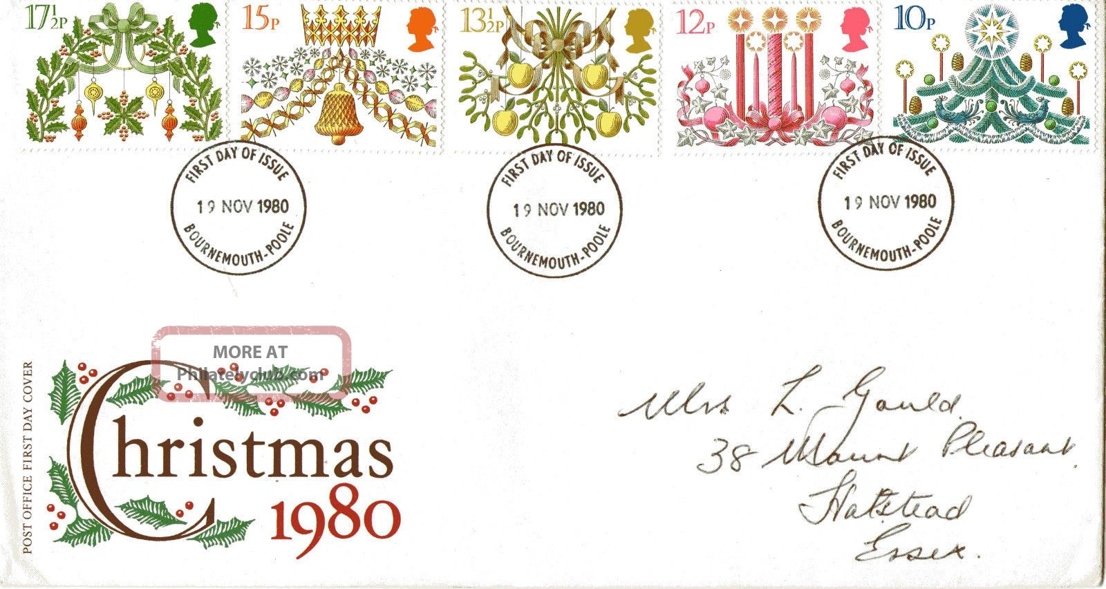 19 November 1980 Christmas Post Office First Day Cover Bournemouth & Poole Fdi Topical Stamps photo
