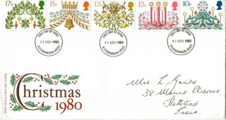 19 November 1980 Christmas Post Office First Day Cover Bournemouth & Poole Fdi photo