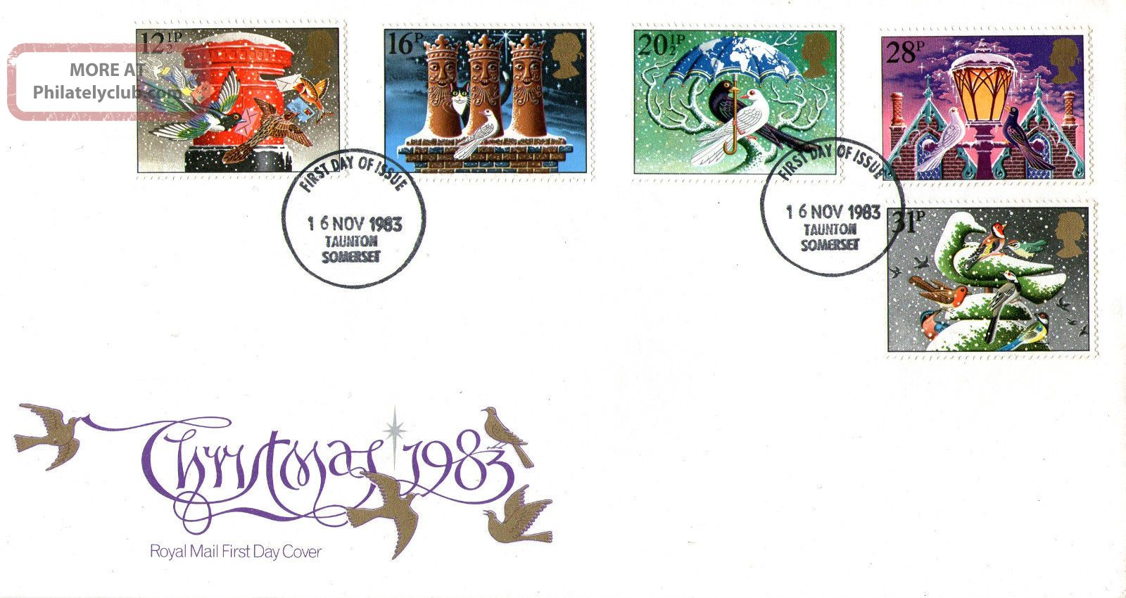 16 November 1983 Christmas Royal Mail First Day Cover Taunton Fdi Topical Stamps photo