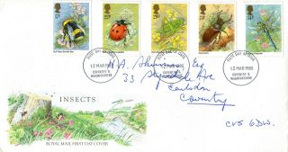 12 March 1985 British Insects Royal Mail First Day Cover Coventry Fdi photo