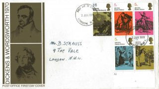 3 June 1970 Literary Anniversaries Post Office First Day Cover London Nw1 Fdi photo