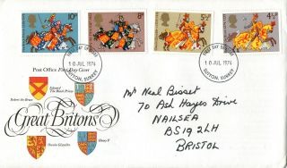 10 July 1974 Great Britons Post Office First Day Cover Sutton Surrey Fdi photo