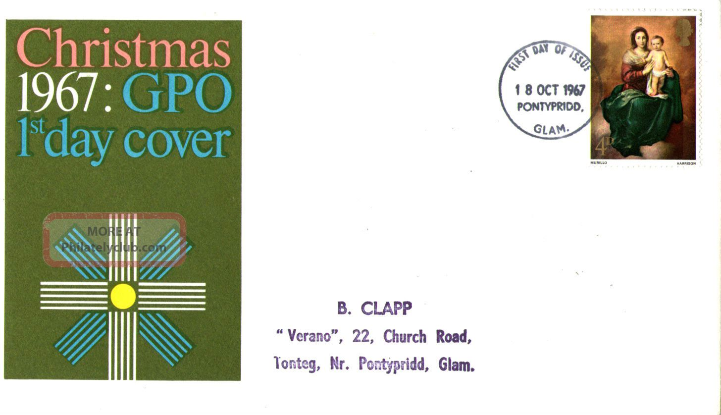18 October 1967 Christmas 4d Gpo First Day Cover Pontypridd Fdi Topical Stamps photo