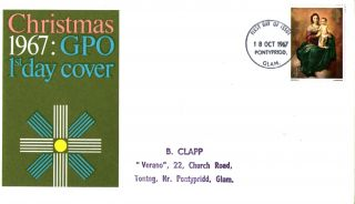 18 October 1967 Christmas 4d Gpo First Day Cover Pontypridd Fdi photo