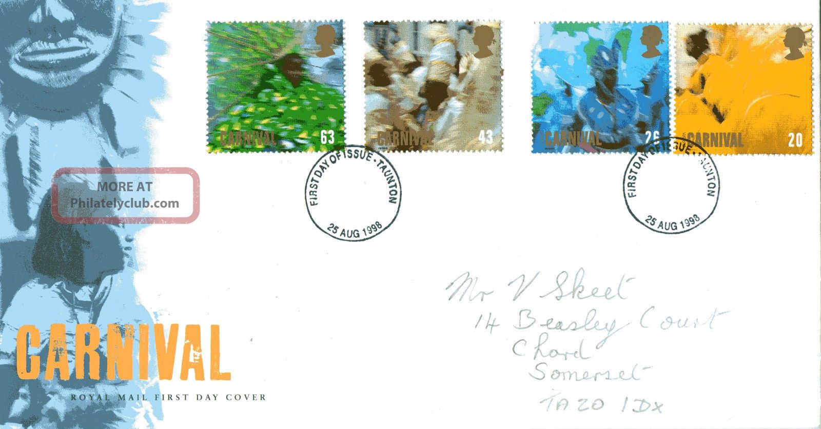 25 August 1998 Carnival Royal Mail First Day Cover Taunton Fdi (a) Topical Stamps photo