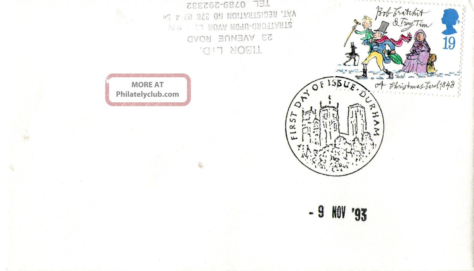 9 November 1993 Christmas First Day Cover Durham Shs (a) Topical Stamps photo