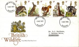 5 October 1977 British Wildlife Post Office First Day Cover Glasgow Fdi photo