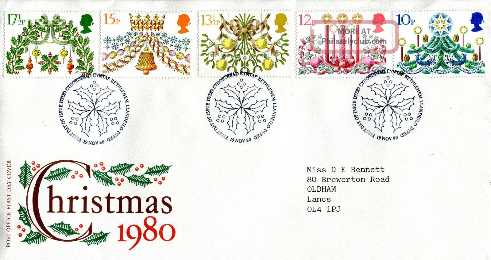 19 November 1980 Christmas Post Office First Day Cover Bethlehem Shs (w) Topical Stamps photo