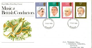 10 September 1980 Famous Conductors Post Office First Day Cover Glasgow Fdi photo