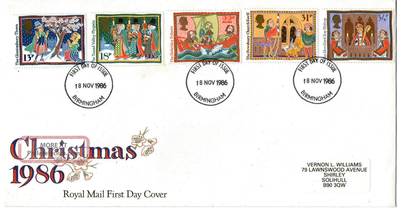 18 November 1986 Christmas Royal Mail First Day Cover Birmingham Fdi Topical Stamps photo