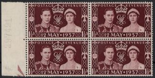Great Britain Sg 461a 1937 Coronation Block Of 4 With ' Colon Flaw ' photo