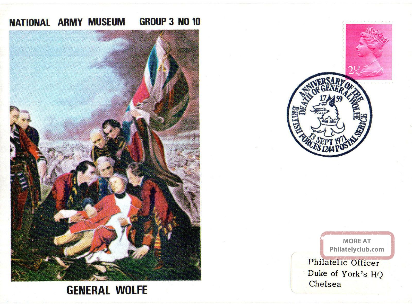 1971 General Wolfe 3/10 Army Museum Commemorative Cover Shs Topical Stamps photo