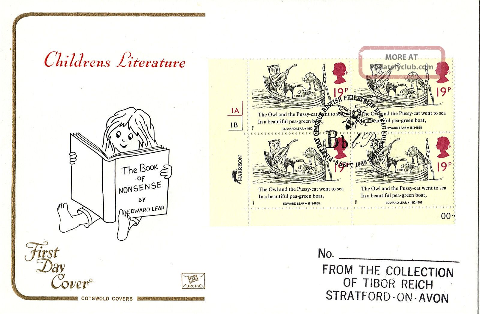 6 September 1988 Edward Lear 19p Block Of 4 On Cotswold First Day Cover Shs Topical Stamps photo